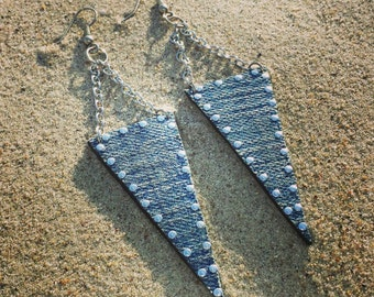 Denim Earrings- Triangle Chain  Jeans and studs