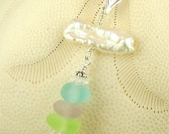 GENUINE Sea Glass Necklace With Keishi Pearl Jewelry