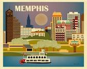 Memphis TN Design Print, Memphis Art, Tennessee Travel Poster, Memphis Design, Memphis Art, Memphis Poster, Horizontal city - style E8-O-MEM