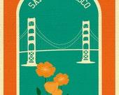 San Francisco Art Print, Golden Gate Bridge and Poppies Print, San Francisco Wall Art, SF artwork, Loose Petals City Art - style E8-O-SF9