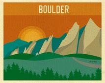 Boulder Skyline Art Print, Boulder Decor Colorado Flatirons Skyline Print - Travel Wall Art Gift, Loose Petals City Print- style E8-O-BOU