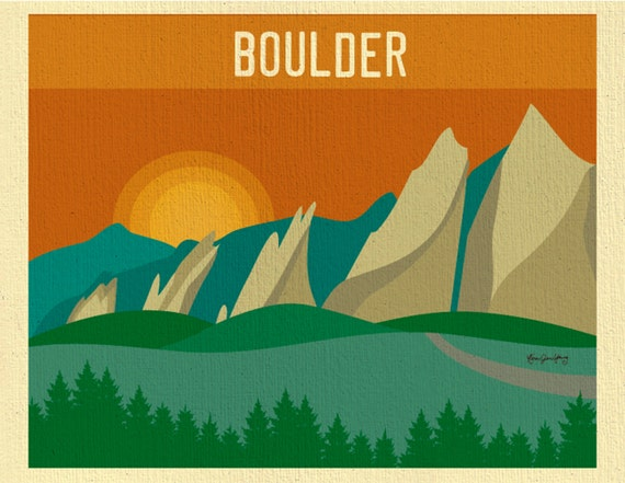 Boulder Skyline Art Print, Boulder Decor Colorado Flatirons Skyline Print - Travel Wall Art Gift, Loose Petals City Print- style E8-O-BOU