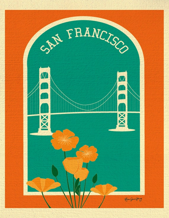 San Francisco Art Print, Golden Gate Bridge and Poppies Print, San Francisco Wall Art, SF artwork, Loose Petals City Art - style E8-O-SF9