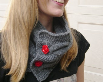 Cable knit Gray Cowl, Cozy  Grey Collar, Cable knit Neck Warmer, Oversized Cowl Winter fashion, Handmade Chunky Large cowl