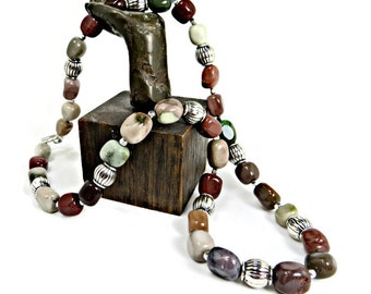 Multi-colored Imperial Jasper Nuggets and Silver Drum Beads Necklace