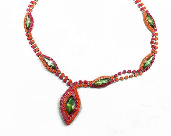 Neon Hand Painted Rhinestone Necklace Lime Green - Neon Orange - Hot Pink