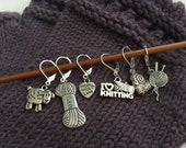 Stitch Markers, mixed knitting themed (pack of 6)