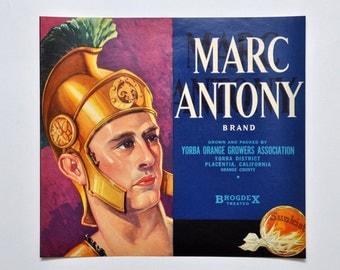 Vintage Original Marc Antony Brand California Orange Fruit Crate Label 1930's
