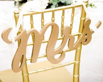 Wedding Chair Signs Wedding Decor Mr & Mrs Sign Set for Bride Groom Sweetheart Table Decor Wedding Reception Decoration  (Item - MCK200)