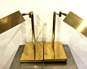 vintage brass sconces - 1970s glamp rotating banker's lamp wall sconces set of 2