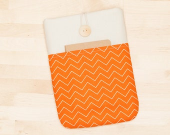 kindle paperwhite cover / kindle fire HDX 7 case / Kobo aura HD case / kobo mini case - orange chevron with pockets -