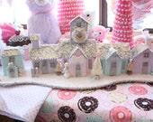 Shabby Chic Pastel Easter Village Light Up Pastel Putz Styled Houses Bottle brush trees