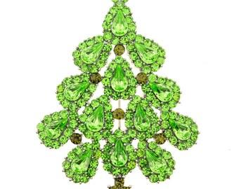 Green Christmas Tree Crystal Pin Brooch 1010263