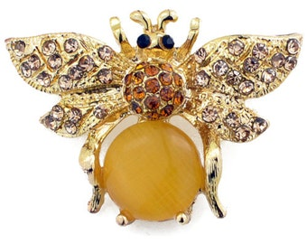 Golden Brown Bee Bug Crystal Pin Brooch 1002502