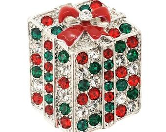 Multicolor Crystal Gift Box Pin Brooch 1000661