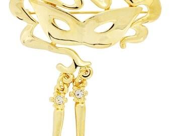 Golden Masquerade Mask Brooch Pin 1010992