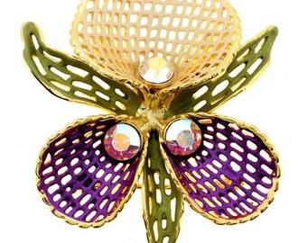 Purple Peach Orchid Swarovski Crystal Flower Pin Brooch 1011123