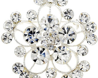 Crystal Flower Wedding Pin 1004062