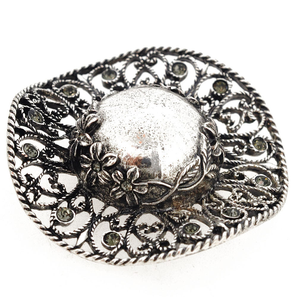 vintage style silver hat pin 1001012