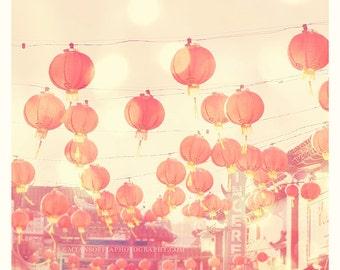 Chinatown photograph, red paper lanterns photo, chinese lanterns, Los Angeles photography, pink nursery art, LA Chinatown art, asian decor