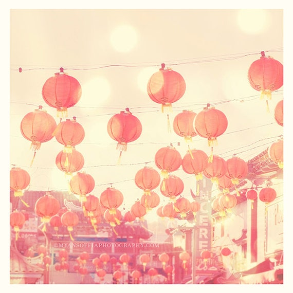 Chinatown photograph, red paper lanterns photo, chinese lanterns, Los Angeles photography, pink nursery art, LA Chinatown art, asian decor