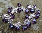 Vintage Look Amethyst Czech Crystal Floral Charm Bracelet adjustable to fit up to 7.5 inch wrist