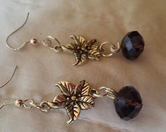 Vintage Look Amethyst Czech Crystal Floral earrings drop dangle flower