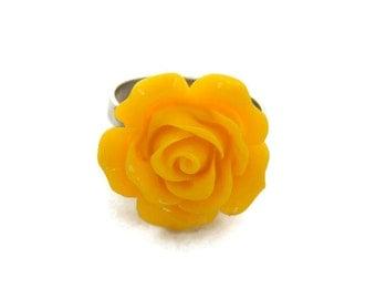 Large Yellow Rose Adjustable Ring - Pinup, Rockabilly, Retro