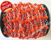 Wire Wrapped Beaded Chain Silver plated Rosary chain Orange color faceted beads size 4*6 jewelry making-ARC-026(3 feet)