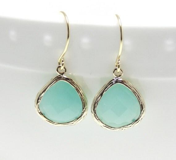 Mint earring. Gold mint glass earrings. Aqua earring. Tear drop earring. Mint bridesmaid jewelry. Wedding jewelry. Bridesmaid earrings.