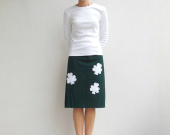 T Shirt Skirt Womens Tee Skirt Four Leaf Clover Hunter Green White St. Patrick's Day Recycled Upcycled Knee Length Cotton Skirt Fall ohzie