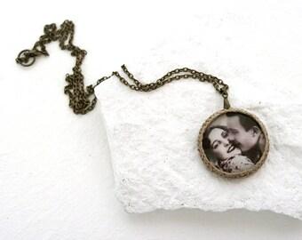 Love Photo Necklace, Glass Dome Pendant, Retro Style Necklace, Natural Linen Pendant