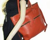 "Orange leather tote bag, leather handbag, leather shopper tote, leather cross-body bag Eliora 15"""