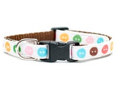"""Cat Collar - """"The Pushing My Buttons"""" - Sweet Button Print"""