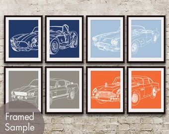 Vintage Dream Cars - Set of 8 - Art Print (Featured in Assorted Colors) Shelby Cobra, Mustang, Aston Martin, Corvette