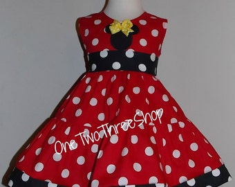 Minnie Mouse Dress Birthday Med Red Jumper  Dress 12 Months to 6 Years