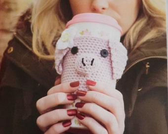 Piggy coffee cup warmer pdf crochet pattern pig