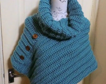 Large neck cowl asymmetrical poncho crochet pattern pdf
