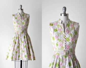 60's embroidered dress. floral dress. 1960's full dress. pastel. pink. green. xs. 60 white dress.