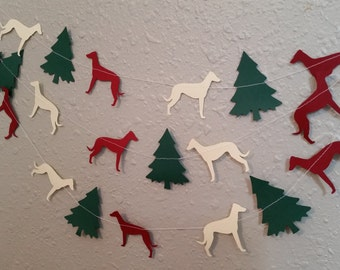 Greyhound Christmas Paper Garland - Choose Your Colors