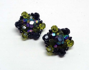 Purple & Green Clip on Earrings - Vintage Made in Germany Signed