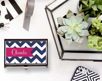 Chevron Custom Personalized Business Card Holder Business Card Case