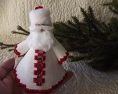 Hardanger Embroidery Santa Holiday Ornament - Red on White with Cut Out Detail