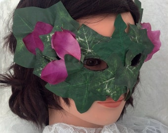 Green Ivy Leaf Mask with Purple Rhododendron Flowers