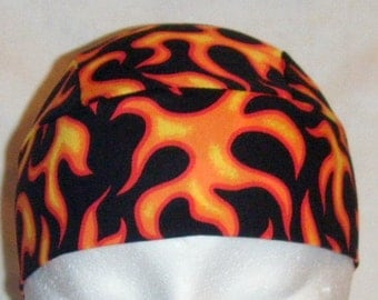 Black Skull Cap or Chemo Cap with Orange Flames, Hats, bald, hair loss, head wrap, helmet liner, motorcycle, Head Cover, Handmade, Alopecia