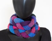Winter Berry Braided Cowl - Purple and Blue Chunky Infinity Cowl - Ladies' Purple Infinity Scarf