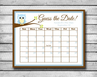 Guess the Date | Blue Owl | Baby Sh ower Game | Due Date Calendar ...