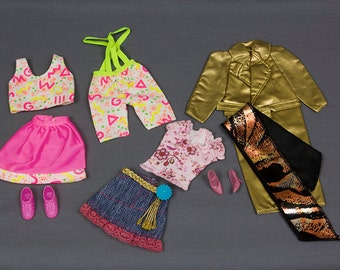 Barbie fashion clothes 3 outfits Gold 1980s lame coat with belt and scarf by Shani 3 piece outfit skirt, shorts with suspenders and Crop top