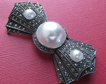 Judith Jack Vintage Bow Brooch Sterling Silver Faux Mabe Pearls And Marcasite Pin Jewelry