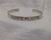 Custom GPS Coordinates Cuff in Sterling Silver